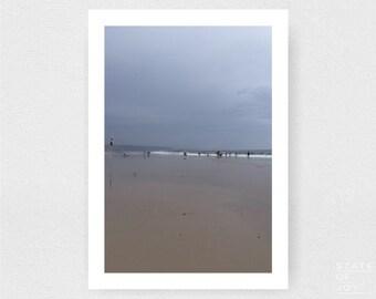 ocean beach photograph - coastal surf decor - swimmers - wall art - portrait - square prints | LARGE FORMAT PRINT
