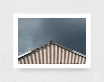 shed - rural photograph - buildings - abandoned - storm clouds - wall art - landscape - square prints | LARGE FORMAT PRINT