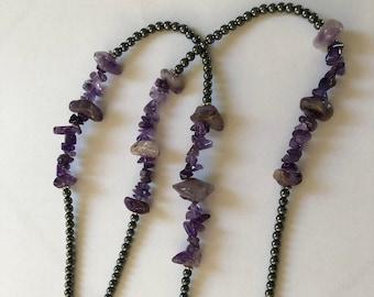 Amethyst Stone Hematite Lanyard, ID Badge Holder for women, lanyard for teachers, custom beaded jewelry, stocking stuffer, crystal lanyard