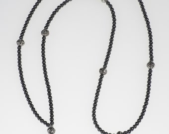Black and hematite skull beaded Beakaway Lanyard Necklace for ID Work Badge 35