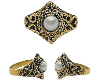 PERLA - Ring med hvit Perle