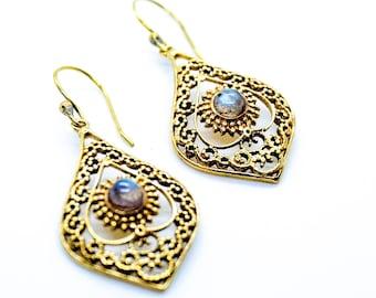 """""""Teardrop"""" Brass Earrings with Labradorite"""