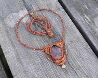 Brown macrame necklace with Septaria and brass beads.