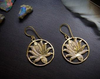 """""""The Lotus"""" Brass Dangle Earrings"""