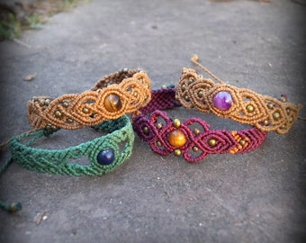 Macrame bracelets with magic stones and brass beads