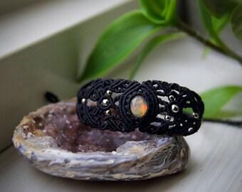 Ethiopian Opal Bracelet in Black Bohemian Healingstones Yoga Meditation Crystals Gemstone Wiccan Hippie Gypsy Freespirit Micromacrame