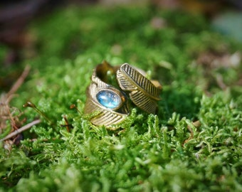 """""""The Maat"""" Brass Feather Crystal Ring"""