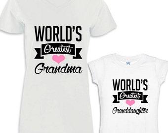 World's Greatest Grandma - World's Greatest Granddaughter Shirt Set