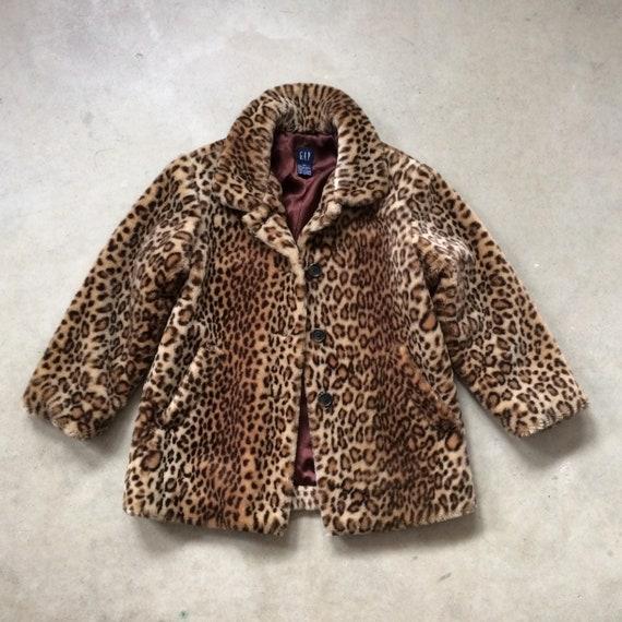 ef245e94a920 GAP Faux Fur Leopard Print Coat Fully Lined Girl's Size | Etsy