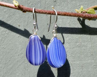 Blue and White StripeTeardrop Vintage Czech Glass Bead And Silver Earrings