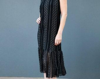 Black Lace dress ,Sleeveless evening dress, women  dress ,Bohemian , A straight dress ,Lurex