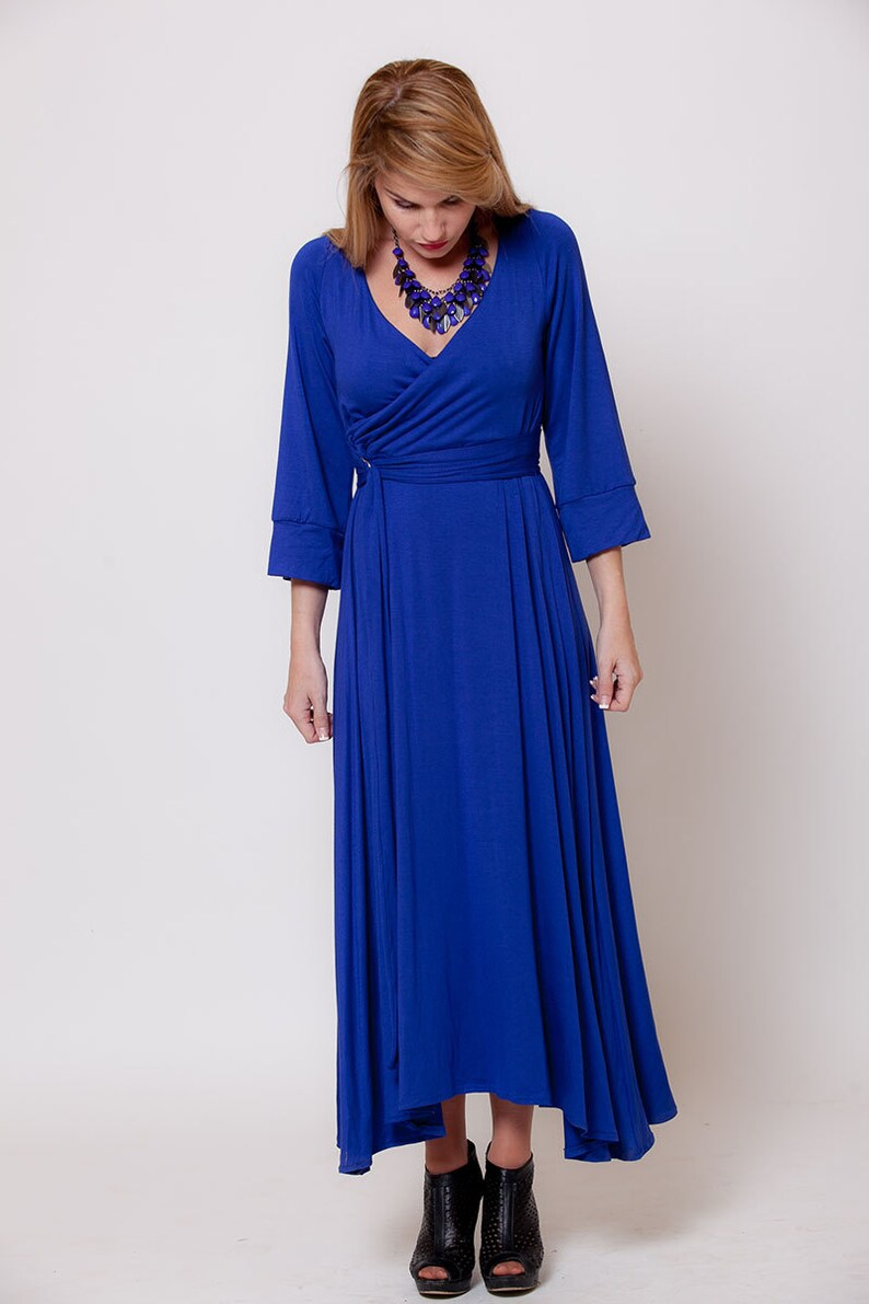 c7ac1ce8c0 Blue long sleeve Maxi dress Wrap Top dress women maxi dress | Etsy