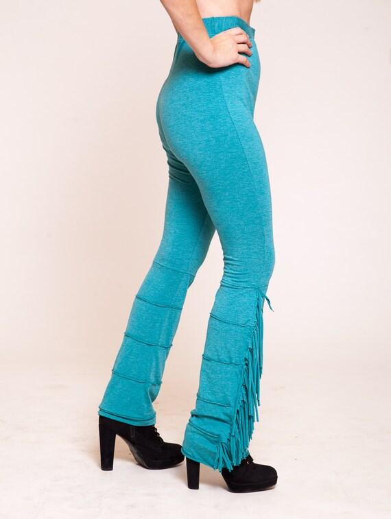 ca6bfa58036fb Turquoise leggings funky tights womens pants fringe | Etsy