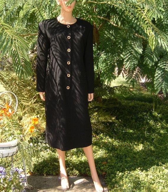80s Designer TRAVILLA Sophisticated Black Crepe Wo