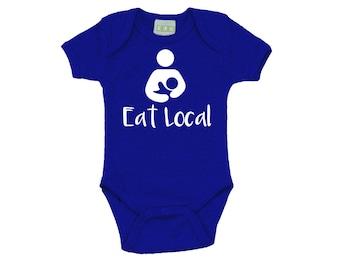 Breastfeeding Onesie - Eat Local Onesie - Royal Blue Breastfeeding Top
