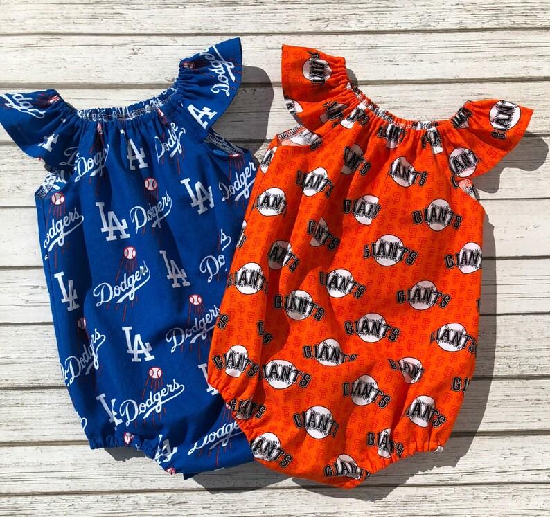 e470b2bc6dc3 Baby Girl Bubble Romper Baseball Team Romper L.A. Dodgers