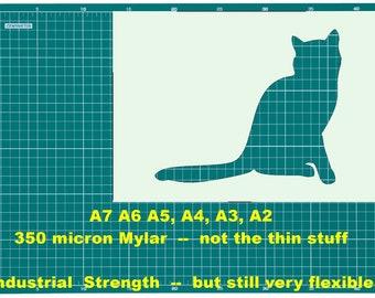 A5-A4-A3-A2-A1 Made from Tough Reusable 350 Micron Material 3 Cute Tattoo Cat STENCIL A5