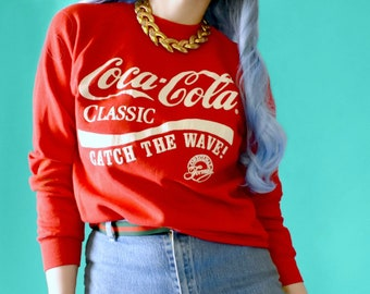 90s COCA-COLA Classic Crewneck Sweatshirt // Size Small Medium Mens Womens  //