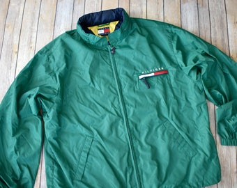 d38ce659ac8d 90s TOMMY HILFIGER Windbreaker Jacket    Size XL Mens Womens    Green  Streetwear 1990s