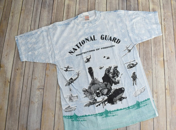 6a263d9504b 90s NATIONAL GUARD All-Over Print T-Shirt T Shirt TShirt Tee