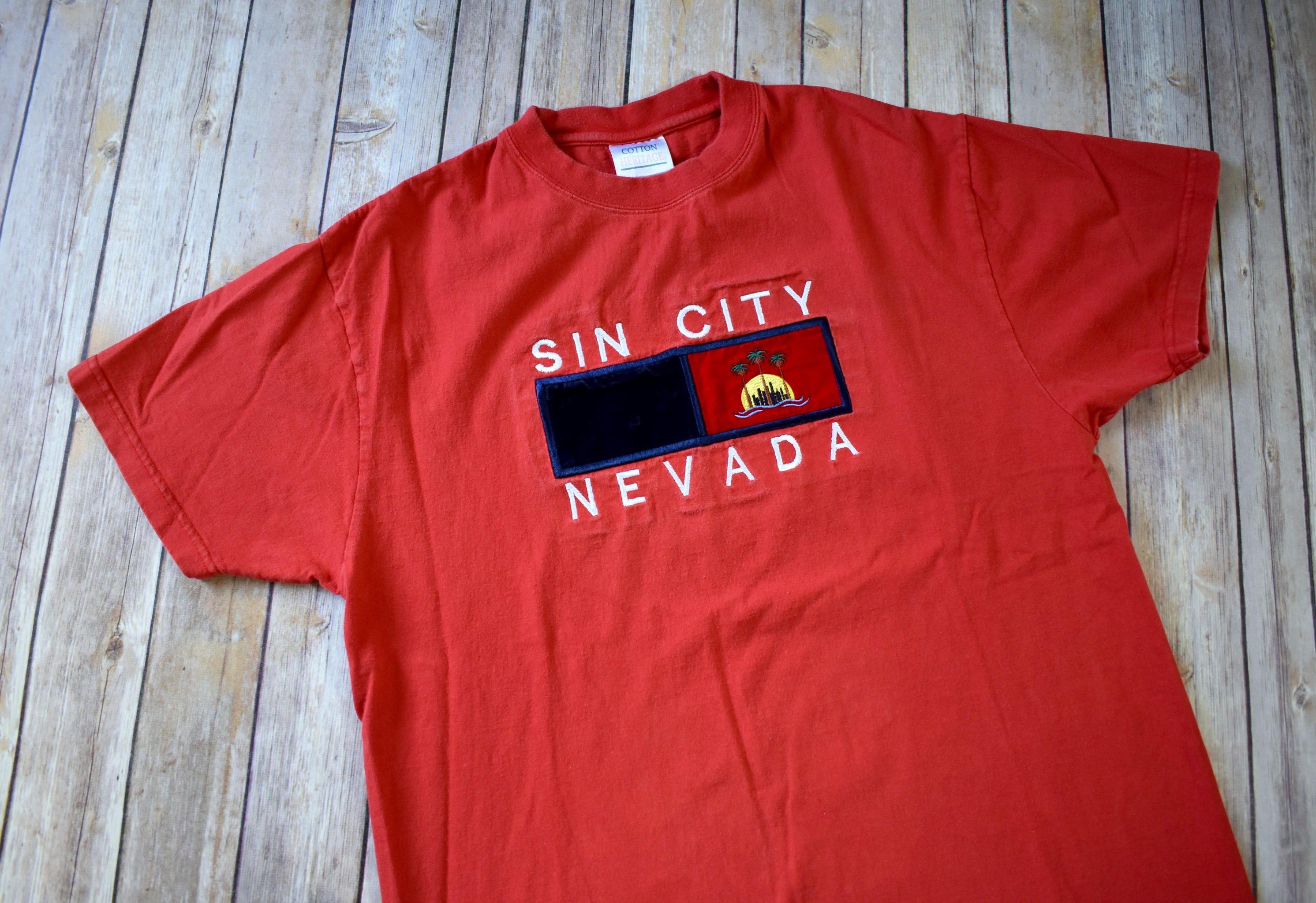 46b96141 90s SIN CITY NEVADA T-Shirt // Size Medium Mens Womens // | Etsy