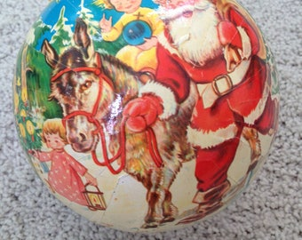 Large Vintage German Paper Mâché Christmas Gift Ball