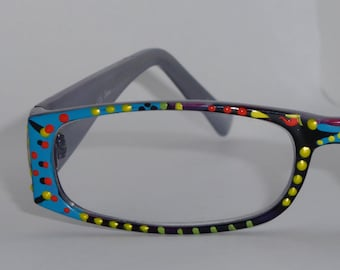 """Hand Painted Reading Glasses """"Confetti Blue"""" . Trendy, detailed, fashionable. They come in all strengths and custom made just 4 you."""