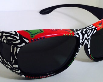 """Hand Painted, Polarized,  Fit over  Sunglasses """"Raging Red"""" ( sunglasses that fit over your  glasses), custom made especially 4 you."""