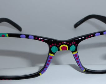 """Hand Painted Reading Glasses      """"Designer Dots"""" Each pair is Detailed, unique and colorful. They come in all strengths."""