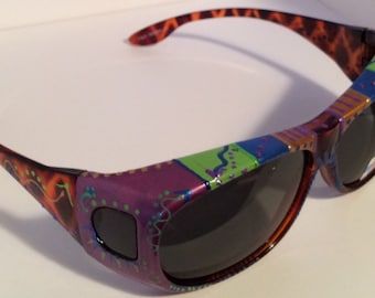 """Hand Painted, Polarized Fit Over Sunglasses.. """"Purple Lime""""(they fit over your own eye glasses) custom made especially 4 you."""