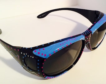 """Hand Painted """"Fit Overs"""" Sunglasses"""" Blue Lagoon""""( Sunglasses that fit right over your own eye glasses) custom made especially 4 you."""
