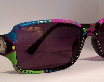 """Hand Painted Bifocal Sunglasses    """"Tropical Pink Lemon aide"""", colorful and created just for you!!"""
