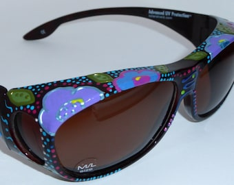 """Hand Painted Fit overs Sunglasses  that fit over your glasses """" Fabulous Floral"""" custom made especially 4 you."""
