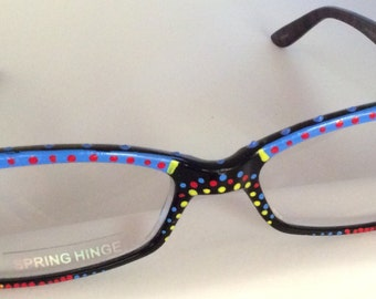 """Hand Painted Reading Glasses """"Cayman Blue Dot's""""....each pair custom made and come in all strengths"""