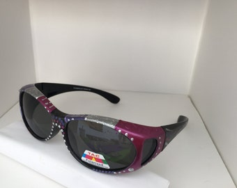 Purple Haze, hand painted polarized fit over sunglasses, they fit over the top of your own glasses