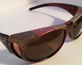 """Hand Painted Polarized Fit over sunglasses. """"Beautiful Bronze""""  Sunglasses that """"fit over"""" your glasses, custom made especially 4 you."""