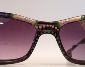 """Hand Painted Bifocal Sunglasses """"Sandy Green Eggplant"""" each pair is unique, colorful and come in many strengths..made just for you!!"""