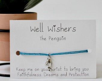 The Penguin : Keep me on your wrist to bring you Faithfulness, Dreams and Protection | Well Wishers UK Friendship Bracelet