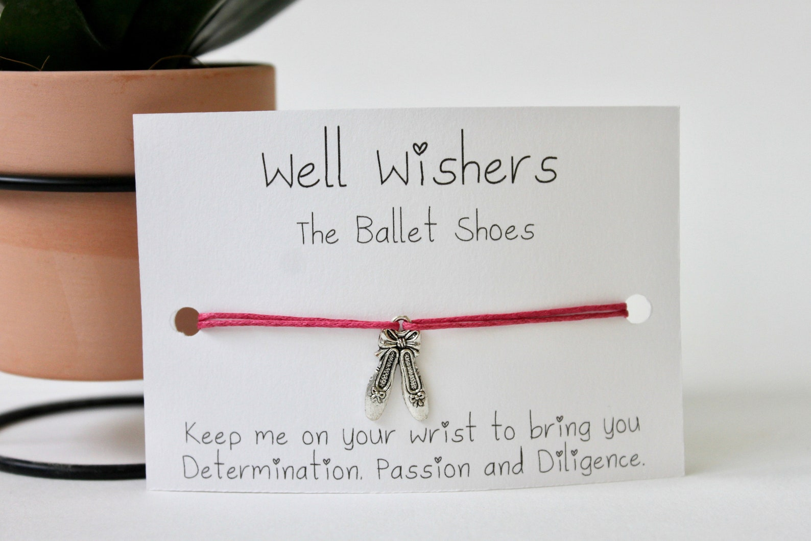 ballet shoes charm bracelet - determination, passion and diligence| well wisher, wish bracelet, bff gift, dance, ballerina, birt