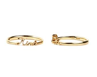 Customized, Named, Hand made,Three colors 9k gold ring. / Anello oro 9K rosa, bianco o giallo, fatto a mano, presonalizzabile con nome.