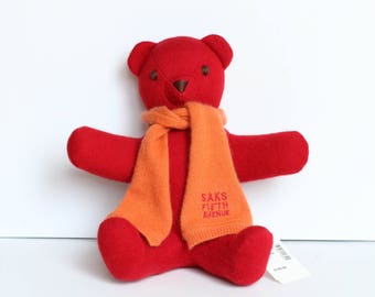 saks fifth avenue red cashmere teddy bear vintage 1990s