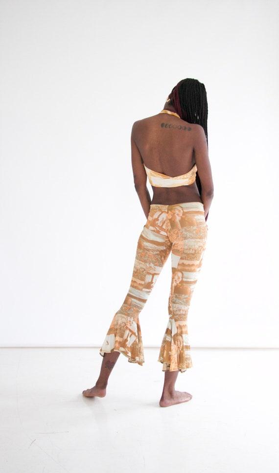 vtg 70s 2-piece photo print pants set w. halter - image 7