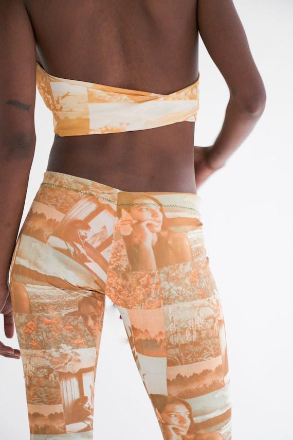 vtg 70s 2-piece photo print pants set w. halter - image 8