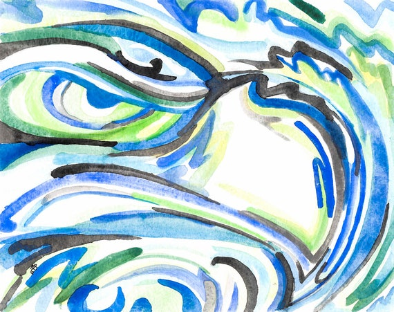 Seattle Seahawk Logo Abstract Watercolor Art Print