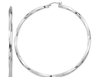 e4e82dbbe 925 Sterling Silver Rhodium Plated Extra Large Diameter 80mm x 3mm Classic  Twisted Hoop Earrings Hinged Click Top