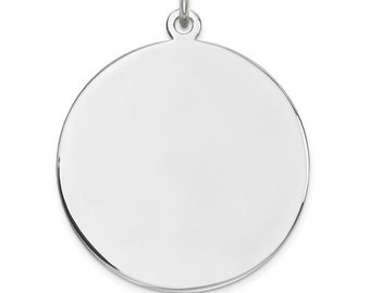 cc497ec65cf74 Sterling Silver 22mm Round Disc Pendant Charm Custom Engraved Personalized  Monogram