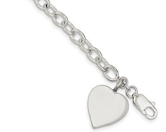 a7525e878 925 Sterling Silver Heart Tag Bracelet with Lobster Clasp Custom Engraved  Personalized Monogram 7.25 inches