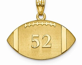 Football pendant etsy 14k 10k yellow white gold sterling silver football disc pendant charm custom made engraved personalized name number cklxna694 aloadofball Images