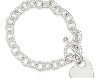 925 Sterling Silver Heart Tag Toggle Bracelet Custom Engraved Personalized Monogram 7.75 inches  CKLQG2169-7.75