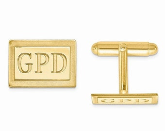 14K Gold or Sterling Silver Rectangle Cufflinks Custom Made Personalized Monogram Groomsmen Best Man Father Bride Anniversary Gift